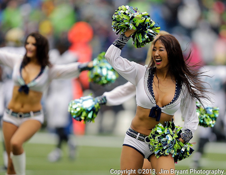 Seattle Seagals perform during a television time out during the Seahawks vs. Jaguars game at CenturyLink Field in Seattle, Washington on September 22, 2013. Seahawks beat the Jaguars 45-17. ©2013. Jim Bryant Photo. ALL RIGHTS RESERVED.