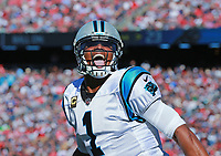 (10/01/2017- Foxboro, MA) Carolina Panthers quarterback Cam Newton celebrates taking the lead with a touchdown pass in the third quarter, riling the crowd at Gillette Stadium on Sunday, October 1, 2017. Staff Photo by Matt West