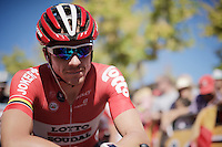 record-man with the most continuous Grand Tour finishes Adam Hansen (AUS/Lotto-Soudal) (13!) at the start<br /> <br /> stage 19: Medina del Campo - Avila (186km)<br /> 2015 Vuelta &agrave; Espana