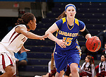 SIOUX FALLS, SD - MARCH 9:  Elise O'Connor #15 of UMKC dribbles toward Dee-Dee-Bellamy #4 of IUPUI during the 2013 Summit League Basketball Championships Saturday at the Sioux Falls Arena.  (Photo by Dick Carlson/Inertia)