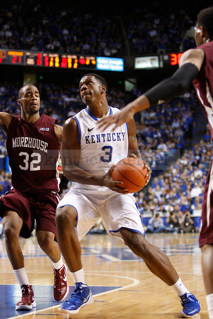 Sophomore forward Terrence Jones drives to the basket during the second half of the UK's home game against Morehouse in Lexington, Ky., Nov. 7, 2011. Photo by Brandon Goodwin | Staff