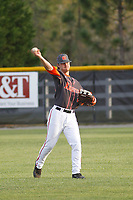 North Davidson High School Black Knights center fielder  Austin Beck (23)   during a game against the West Brunswick High School Trojans at Mike Alderson Field  on April 12, 2017 in Shallotte, North Carolina. North Davidson defeated West Brunswick 7-3. (Robert Gurganus/Four Seam Images)