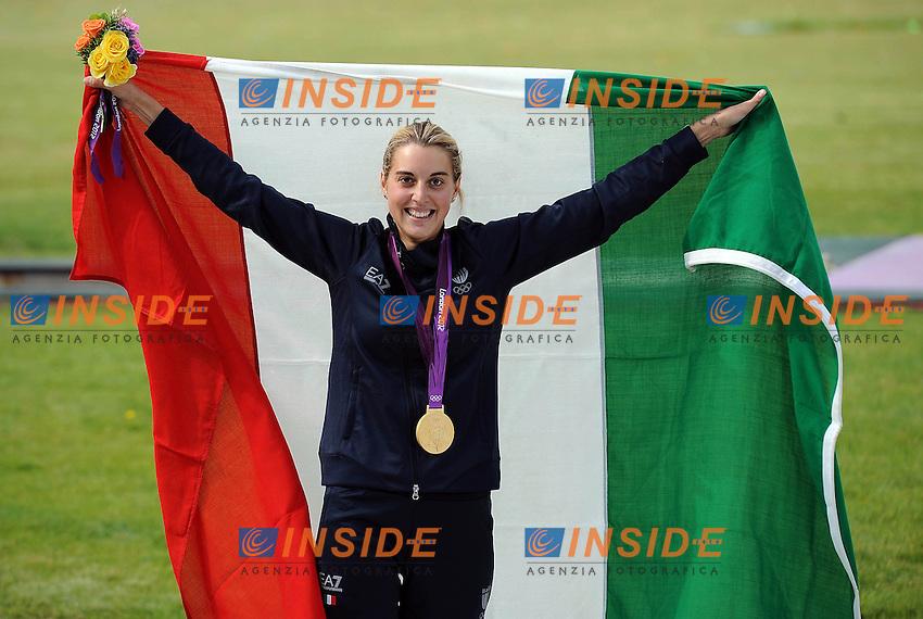 Jessica Rossi Italy Gold Medal Women's shooting.London 4/8/2012 Royal Artillery Basrracks.London 2012 Olympic games - Olimpiadi Londra 2012.Shooting - Tiro / Trap.Foto Insidefoto