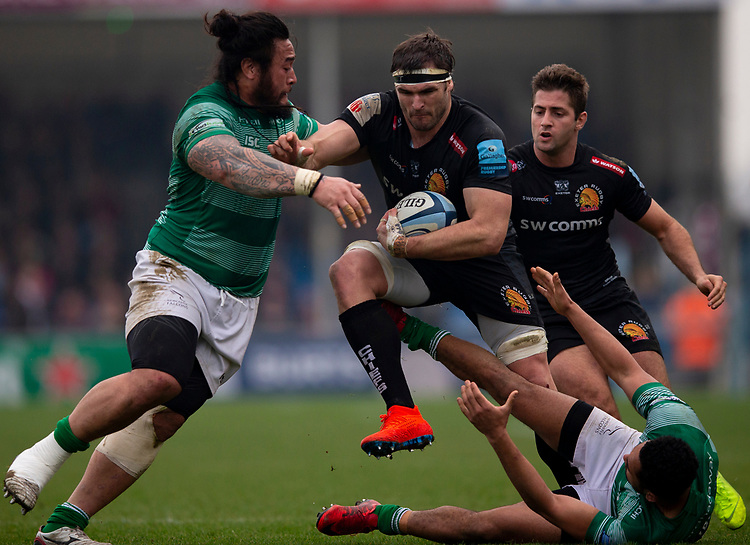 Exeter Chiefs' Don Armand in action during todays match<br /> <br /> Photographer Bob Bradford/CameraSport<br /> <br /> Gallagher Premiership - Exeter Chiefs v Newcastle Falcons - Saturday 23rd February 2019 - Sandy Park - Exeter<br /> <br /> World Copyright © 2019 CameraSport. All rights reserved. 43 Linden Ave. Countesthorpe. Leicester. England. LE8 5PG - Tel: +44 (0) 116 277 4147 - admin@camerasport.com - www.camerasport.com