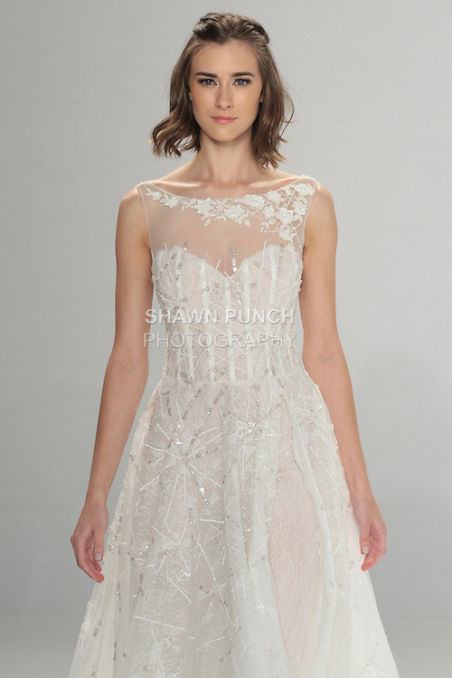 """Model walks runway in Dorothy - the Finale dress, from the Tony Ward Fall 2016 """"A Mid-Summer Night's Dream"""" bridal collection on April 18, 2016 at Kleinfeld Bridal during New York Bridal Fashion Week Spring Summer 2016."""