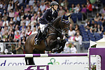 August 09, 2009: Janne-Frederike Meyer (GER) aboard Cellagon Lambrasco competing in the Grand Prix event. Longines International Grand Prix. Failte Ireland Horse Show. The RDS, Dublin, Ireland.