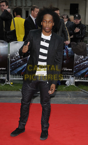 Lemar Obika.The 'The Amazing Spider-Man' UK film premiere, Odeon Leicester Square cinema, London, England..June 18th, 2012.full length black jacket white striped stripes top jeans denim hand thumb up.CAP/CAN.©Can Nguyen/Capital Pictures.
