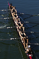 REDWOOD SHORES, CA - MARCH 31:  The Stanford Cardinal women's second varsity team during Stanford's regatta against the Santa Clara Broncos on March 31, 2001 in Redwood Shores, California.