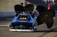 Nov 13, 2010; Pomona, CA, USA; NHRA funny car driver Tim Wilkerson during qualifying for the Auto Club Finals at Auto Club Raceway at Pomona. Mandatory Credit: Mark J. Rebilas-
