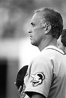 Cal Ripken,jr. of the Baltimore Orioles during a 1995 season game at Anaheim Stadium in Anaheim,California.(Larry Goren/Four Seam Images)