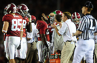 Jan 7, 2010; Pasadena, CA, USA; Alabama Crimson Tide running back Mark Ingram (22) drinks during a stoppage in play in the second quarter of the 2010 BCS national championship game against the Texas Longhorns at the Rose Bowl.  Mandatory Credit: Mark J. Rebilas-