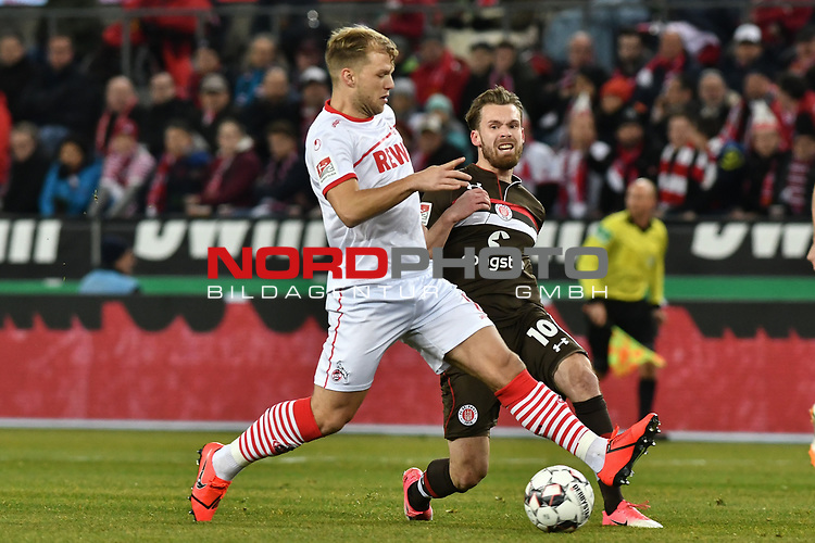 08.02.2019, Rheinenergiestadion, K&ouml;ln, GER, DFL, 2. BL, VfL 1. FC Koeln vs FC St. Pauli, DFL regulations prohibit any use of photographs as image sequences and/or quasi-video<br /> <br /> im Bild v. li. im Zweikampf Johannes Geis (#8, 1.FC K&ouml;ln / Koeln) Christopher Buchtmann (#10, FC St. Pauli) <br /> <br /> Foto &copy; nph/Mauelshagen