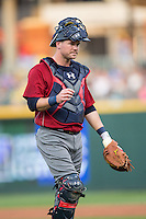 Lehigh Valley Iron Pigs catcher Andrew Knapp (15) walks back to home plate during the game against the Charlotte Knights at BB&T BallPark on June 3, 2016 in Charlotte, North Carolina.  The Iron Pigs defeated the Knights 6-4.  (Brian Westerholt/Four Seam Images)