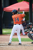 GCL Astros center fielder Andres Santana (14) at bat during a game against the GCL Marlins on August 5, 2018 at FITTEAM Ballpark of the Palm Beaches in West Palm Beach, Florida.  GCL Astros defeated GCL Marlins 2-1.  (Mike Janes/Four Seam Images)