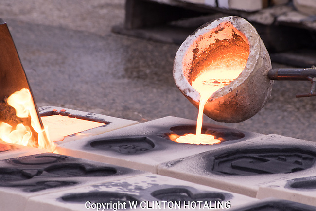 Heart-shaped molds get their share of molten iron at the Winter Iron Pour.