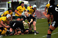 Kendra Cocksedge passes from a ruck during the 2017 International Women's Rugby Series rugby match between the NZ Black Ferns and Australia Wallaroos at Rugby Park in Christchurch, New Zealand on Tuesday, 13 June 2017. Photo: Dave Lintott / lintottphoto.co.nz