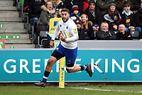 Matt Banahan of Bath Rugby runs in a try in the first half. Aviva Premiership match, between Harlequins and Bath Rugby on March 2, 2018 at the Twickenham Stoop in London, England. Photo by: Patrick Khachfe / Onside Images