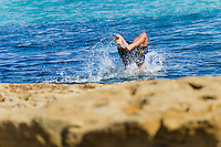 Jared Waerea-Hargreaves swimming at Bondi