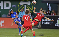 Portland, OR - Saturday May 27, 2017: Margaret Purce, Emily Sonnett during a regular season National Women's Soccer League (NWSL) match between the Portland Thorns FC and the Boston Breakers at Providence Park.