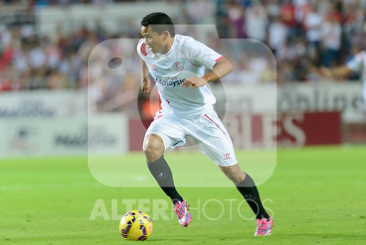 Sevilla's Bacca during the match between Sevilla FC and Villarreal day 9 spanish  BBVA League 2014-2015 day 5, played at Sanchez Pizjuan stadium in Seville, Spain. (PHOTO: CARLOS BOUZA / BOUZA PRESS / ALTER PHOTOS)