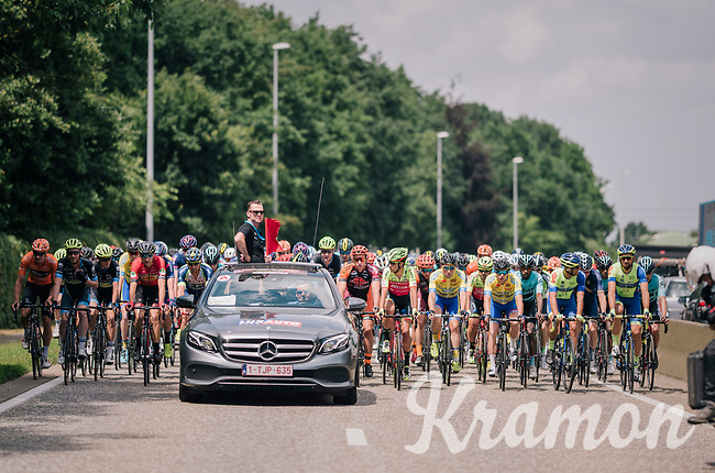 race organiser/director Nick Nuyens keeping the race neutralised until the real start outside the city limits<br /> <br /> 3rd Dwars Door Het hageland 2018 (BEL)<br /> 1 day race:  Aarschot > Diest: 198km