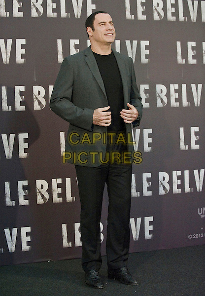 John Travolta.Photocall for the film 'Savages', Rome, Italy..September 25th, 2012 .full length black top grey gray suit jacket trousers.CAP/IPP/FC.©Fanny Coletta/IPP/Capital Pictures. .