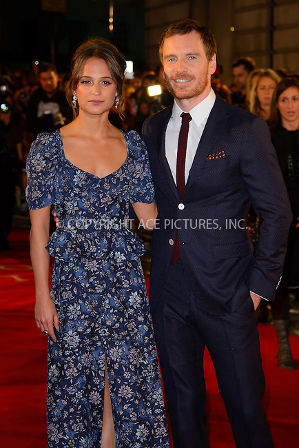 www.acepixs.com<br /> <br /> October 19 2016, London<br /> <br /> Alicia Vikander and Michael Fassbender arriving at the UK premiere of 'The Light Between Oceans' at the Curzon Mayfair on October 19, 2016 in London, England.<br /> <br /> By Line: Famous/ACE Pictures<br /> <br /> <br /> ACE Pictures Inc<br /> Tel: 6467670430<br /> Email: info@acepixs.com<br /> www.acepixs.com
