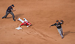 28 September 2014: Washington Nationals infielder Kevin Frandsen is out at second during play against the Miami Marlins at Nationals Park in Washington, DC. The Nationals shut out the Marlins 1-0, caping the season with the first Nationals no-hitter in modern times. The win also notched a 96 win season for the Nats: the best record in the National League. Mandatory Credit: Ed Wolfstein Photo *** RAW (NEF) Image File Available ***