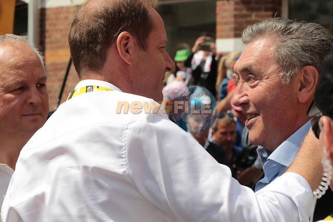 Tour Director Christian Prudhomme and cycling legend Eddy Merckx before the start of Stage 3 of the 2019 Tour de France running 215km from Binche, Belgium to Epernay, France. 8th July 2019.<br /> Picture: Colin Flockton | Cyclefile<br /> All photos usage must carry mandatory copyright credit (© Cyclefile | Colin Flockton)