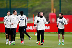 Wayne Rooney of Manchester United talks with Juan Mata during the Manchester United open training session at the Carrington Training Centre, Manchester. Picture date: May 19th 2017. <br /> Pic credit should read: Matt McNulty/Sportimage