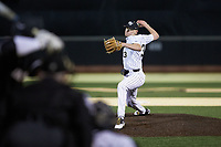 Wake Forest Demon Deacons starting pitcher Ryan Cusick (33) in action against the Louisville Cardinals at David F. Couch Ballpark on March 6, 2020 in  Winston-Salem, North Carolina. The Cardinals defeated the Demon Deacons 4-1. (Brian Westerholt/Four Seam Images)
