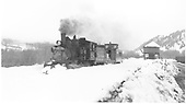 Engine 278 on a flanger trip with caboose southbound out of town.<br /> D&amp;RGW  Castleton - Baldwin Branch, CO  Taken by Richardson, Robert W. - 2/28/1950