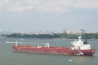 The Tanja Jacob tanker is anchored in The Narrows between the New York City borough of Staten Island and Brooklyn, NY, Sunday July 31, 2011. Historically the most important entrance into the harbors of the Port of New York and New Jersey, The Narrows is a tidal strait separating the boroughs of Staten Island and Brooklyn that connects the Upper New York Bay and Lower New York Bay.