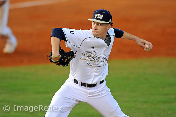 16 February 2013:  FIU left-handed pitcher Tyler Alexander (22) pitches as the FIU Golden Panthers defeated the Stony Brook University Seawolves, 3-0, at University Park Stadium in Miami, Florida.
