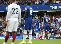 Jorginho of Chelsea issues some guidance to Chelsea's Billy Gilmour during Chelsea vs Sheffield United, Premier League Football at Stamford Bridge on 31st August 2019