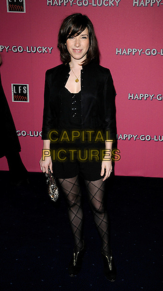 "SALLY HAWKINS .At the UK Film Premiere of ""Happy-Go-Lucky"" held at the Odeon Leicester Square, London, England, .April 14th 2008..Happy Go Lucky full length black jacket tights hotpants shorts .CAP/CAN.©Can Nguyen/Capital Pictures"
