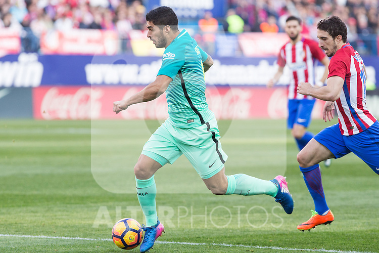 Luis Suarez of Futbol Club Barcelona during the match of Spanish La Liga between Atletico de Madrid and Futbol Club Barcelona at Vicente Calderon Stadium in Madrid, Spain. February 26, 2017. (ALTERPHOTOS)
