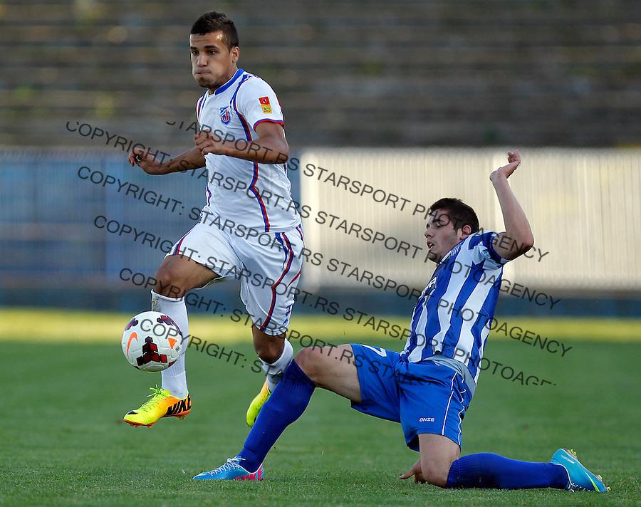 Fudbal Super liga season 2013-2014<br /> Ofk Beograd v Jagodina<br /> Mohamed El Monir (L) and Sasa Zdjelar<br /> Beograd, 09.11.2013.<br /> foto: Srdjan Stevanovic/Starsportphoto &copy;