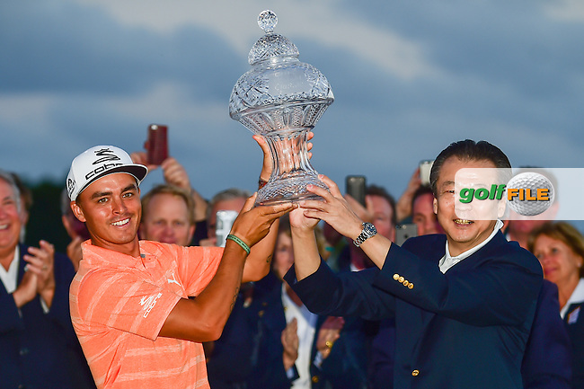Rickie Fowler (USA) receives the trophy for winning the Honda Classic, PGA National, Palm Beach Gardens, West Palm Beach, Florida, USA. 2/26/2017.<br /> Picture: Golffile | Ken Murray<br /> <br /> <br /> All photo usage must carry mandatory copyright credit (&copy; Golffile | Ken Murray)