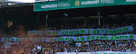 Stockholm 2013-06-23 Fotboll Superettan , Hammarby IF - &Auml;ngelholms FF :  <br /> Hammarby Bajen fans p&aring; Norra l&auml;ktaren med banderoll med texten &quot;H&auml;r ekade s&aring;ngen i betongen. H&auml;r blev livet st&ouml;rre &auml;n framg&aring;ngen&quot; under den sista matchen p&aring; S&ouml;derstadion<br /> (Foto: Kenta J&ouml;nsson) Nyckelord:  supporter fans publik supporters banderoll
