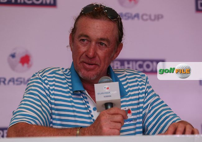 Team Europe Captain, Miguel Angel Jimenez (ESP) announced that both sides are here to win after  the second day Foursome matches at the 2014 EurAsia Cup presented by DRB-Hicom, at the Glenmarie Golf & Country Club, Kuala Lumpur, Malaysia. Picture:  David Lloyd / www.golffile.ie