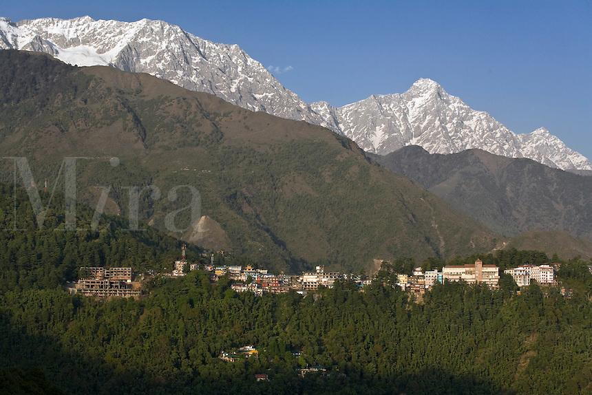 MCLEOD GANJ in the HIMALAYAN FOOTHILLS was originally a British Hill Station and is now the home of the 14th Dalai Lama in exile - DHARAMSALA, INDIA