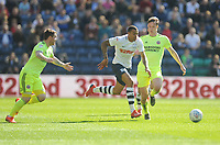 Preston North End's Lukas Nmecha under pressure from Sheffield United's Kieran Dowell (right) and John Fleck<br /> <br /> Photographer Kevin Barnes/CameraSport<br /> <br /> The EFL Sky Bet Championship - Preston North End v Sheffield United - Saturday 6th April 2019 - Deepdale Stadium - Preston<br /> <br /> World Copyright © 2019 CameraSport. All rights reserved. 43 Linden Ave. Countesthorpe. Leicester. England. LE8 5PG - Tel: +44 (0) 116 277 4147 - admin@camerasport.com - www.camerasport.com