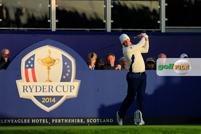 Lee Westwood (EUR) on the 1st tee during the Saturday Fourball Matches of the Ryder Cup at Gleneagles Golf Club on Saturday 27th September 2014.<br /> Picture:  Thos Caffrey / www.golffile.ie