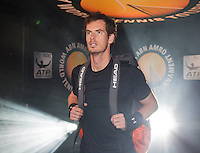 Februari 12, 2015, Netherlands, Rotterdam, Ahoy, ABN AMRO World Tennis Tournament, Andy Murray (GBR) walks on court prior to his match against Vasek Pospisil (CAN)<br /> Photo: Tennisimages/Henk Koster