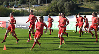 20200310  Lagos , Portugal : Belgian players with Belgian Davina Philtjens (2) pictured during warming up of the female football game between the national teams of Belgium called the Red Flames and Denmark on the third and last matchday for the 5th or 6th place of the Algarve Cup 2020 , a prestigious friendly womensoccer tournament in Portugal , on tuesday 10 th March 2020 in Lagos , Portugal . PHOTO SPORTPIX.BE | DAVID CATRY