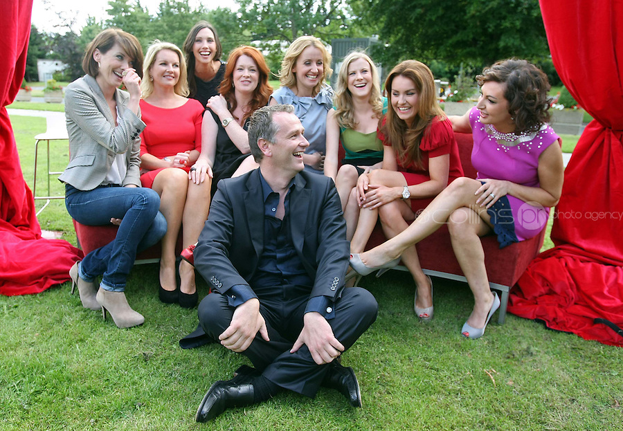 05/08/'10  Daithi O Se pictured with , Sonya Lennon, Jennifer Maguire, Nuala Carey, Claire Byrne, Mairead Farrell, Blathnaid  Ni Chofaigh, Maura Derrane and Michelle  Doherty pictured  at the launch of RTE's new season winter schedule at Montrose this afternoon...Picture Colin Keegan, Collins, Dublin.