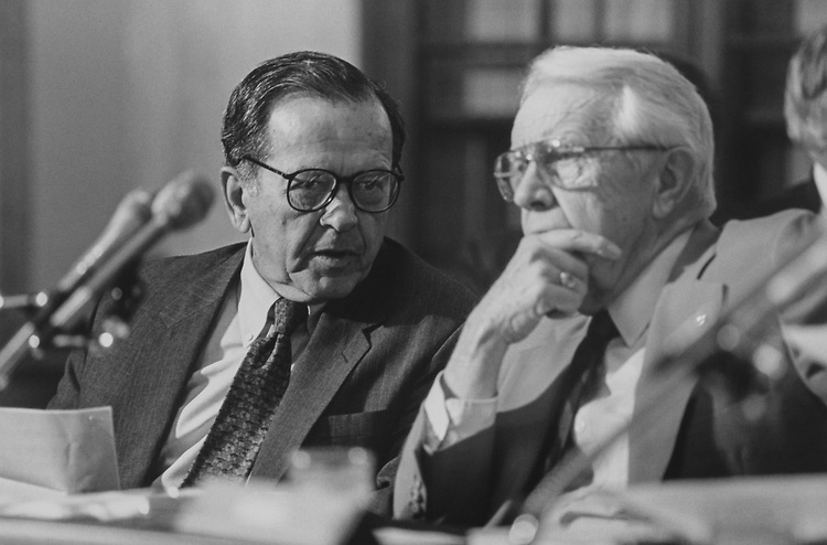 Sen. Ted Stevens, R-Alaska, and Sen. Wendell H. Ford, D-Ky., at Senate Rules hearing. 1993 (Photo by Laura Patterson/CQ Roll Call via Getty Images)
