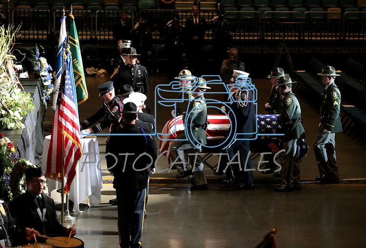 Honor Guard members enter a memorial service for Carson City Sheriff's Deputy Carl Howell at the Reno Events Center in Reno, Nev., on Thursday, Aug. 20, 2015. Howell was shot and killed early Saturday morning after responding to a domestic violence call. (Cathleen Allison/Las Vegas Review-Journal)