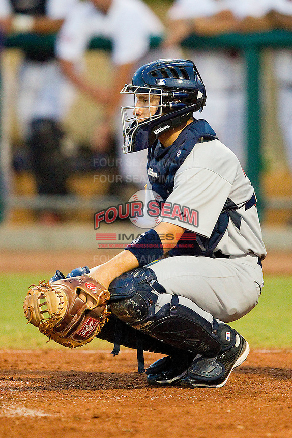 Catcher David Lyon #36 (Kent State) of the USA Baseball Collegiate National Team on defense against the USA 18u National Team at the USA Baseball National Training Center on July 2, 2011 in Cary, North Carolina.  The College National Team defeated the 18u team 8-1.  Brian Westerholt / Four Seam Images